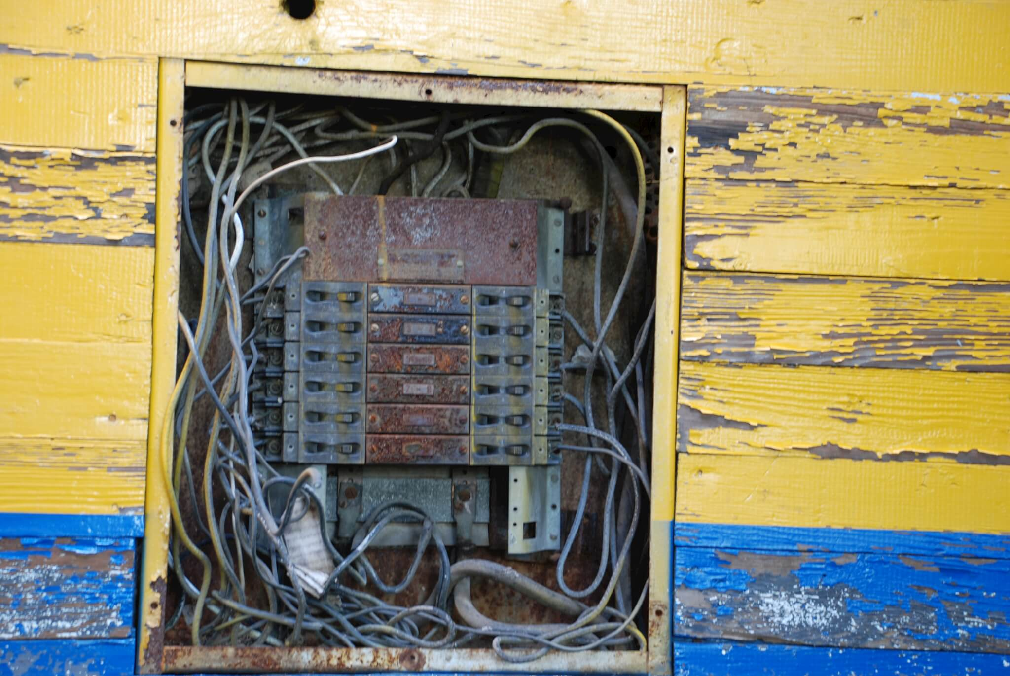If you electrical panel looks like this call an electrician immediately!