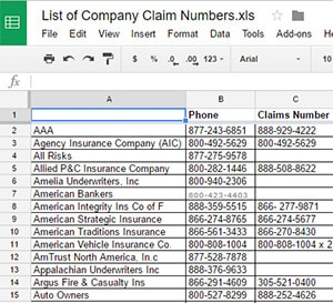 list of insurance companies and phone numbers