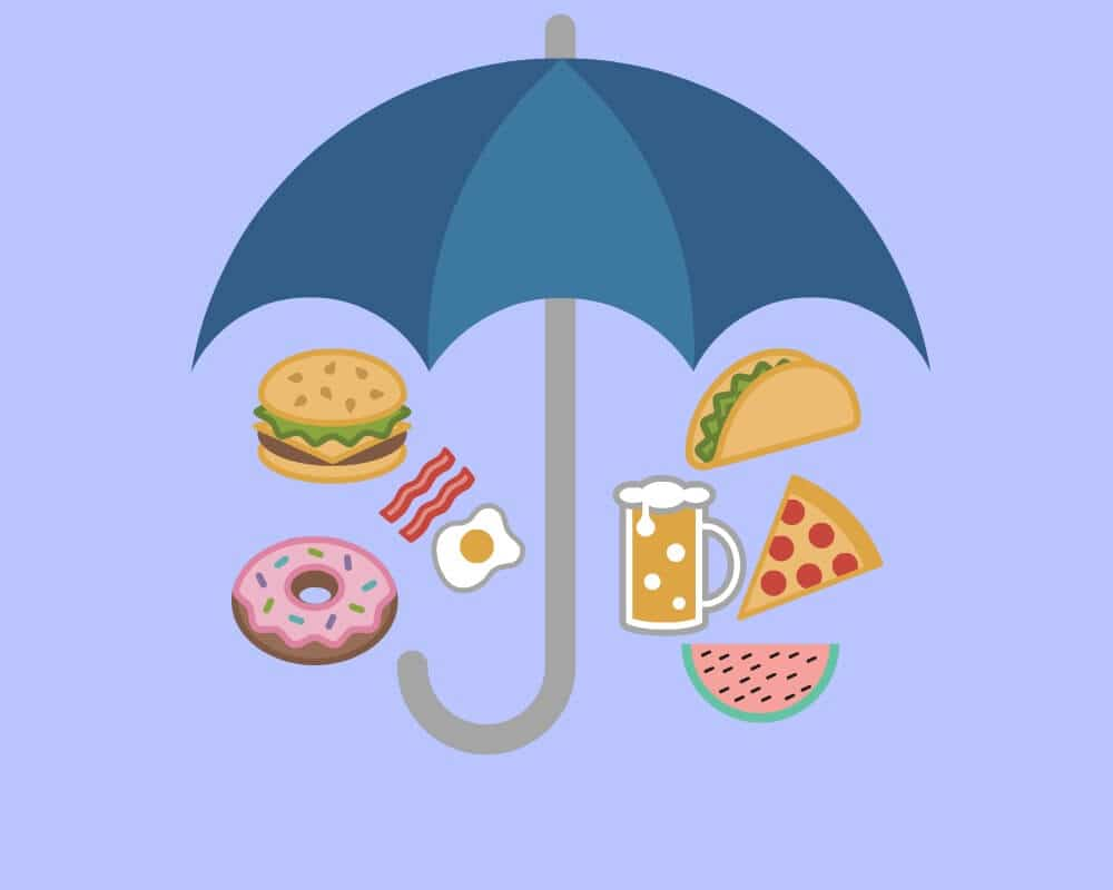 food icons under umbrella
