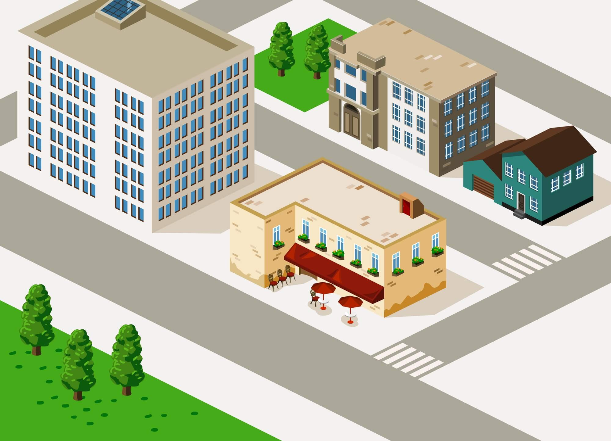 bird's-eye view of illustrated buildings on street corner