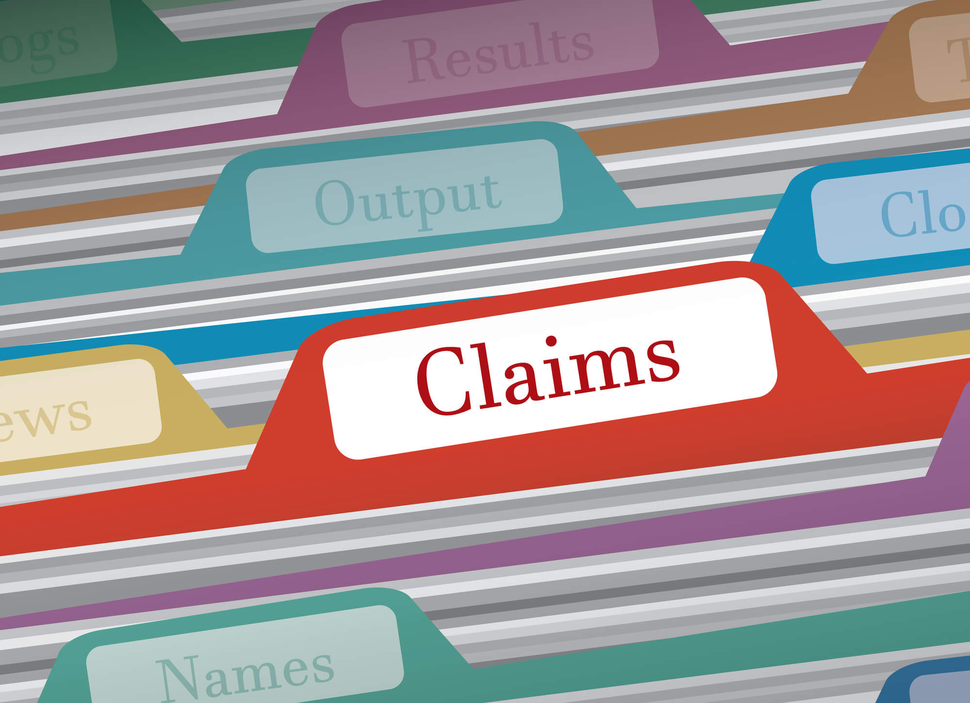 claims folder in file cabinet