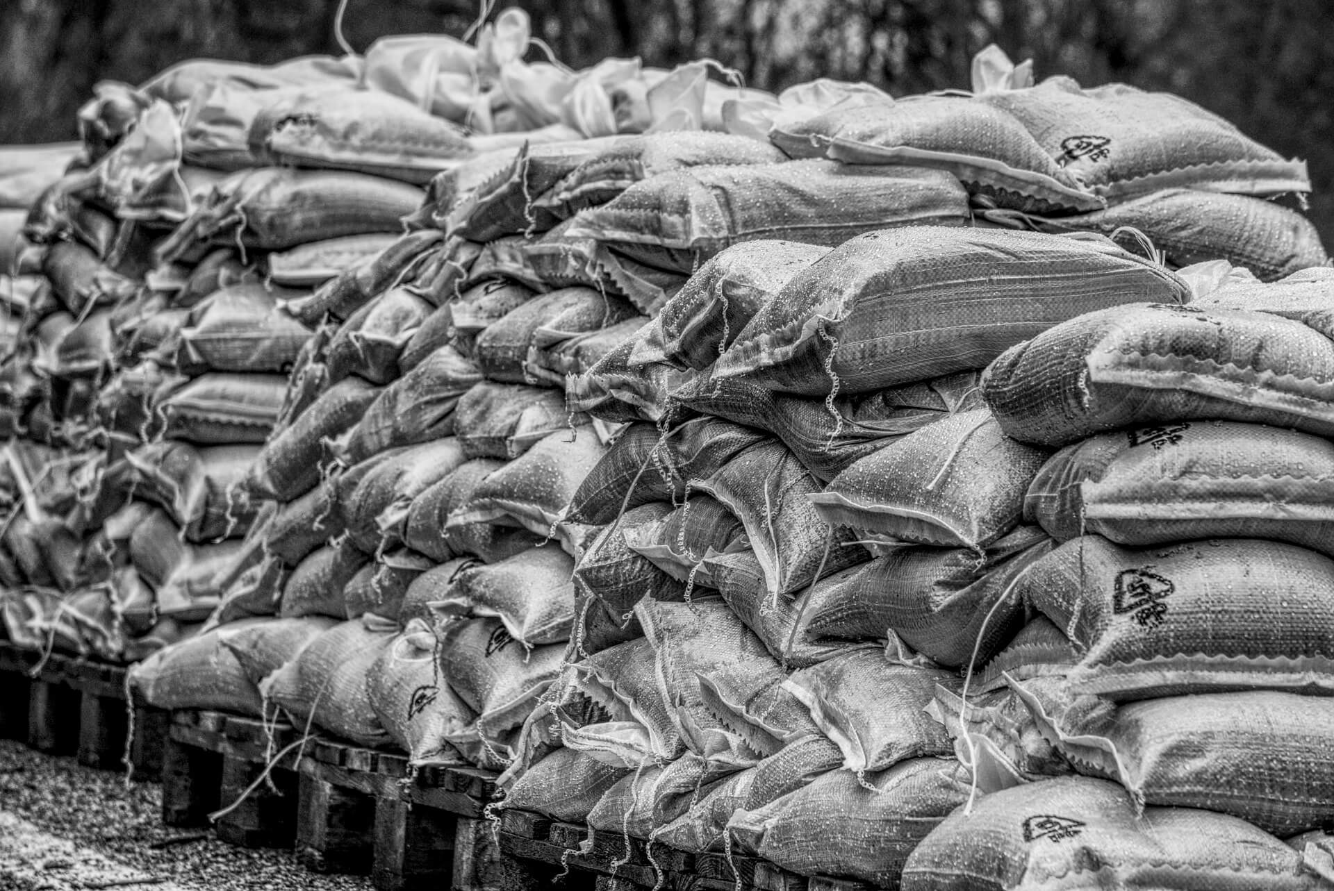 pile of sand bags