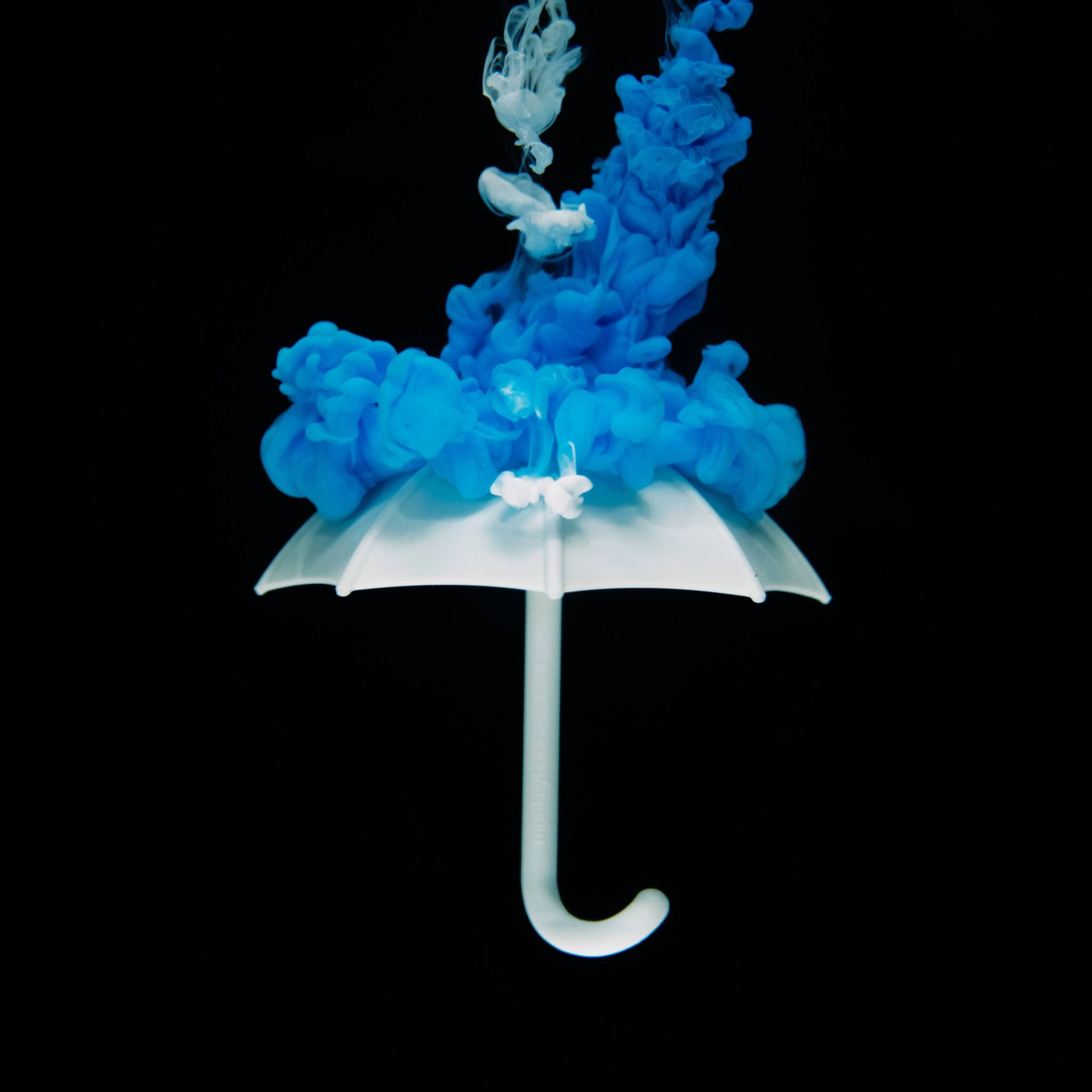 umbrella with blue ink splash