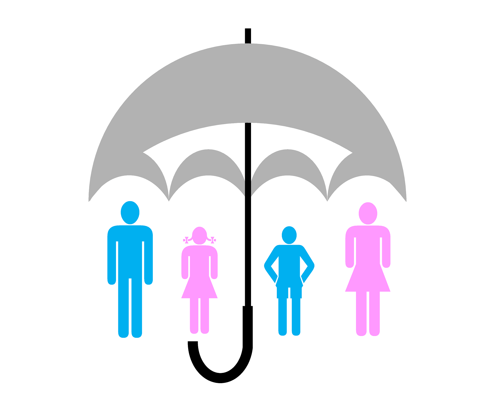graphic umbrella over family