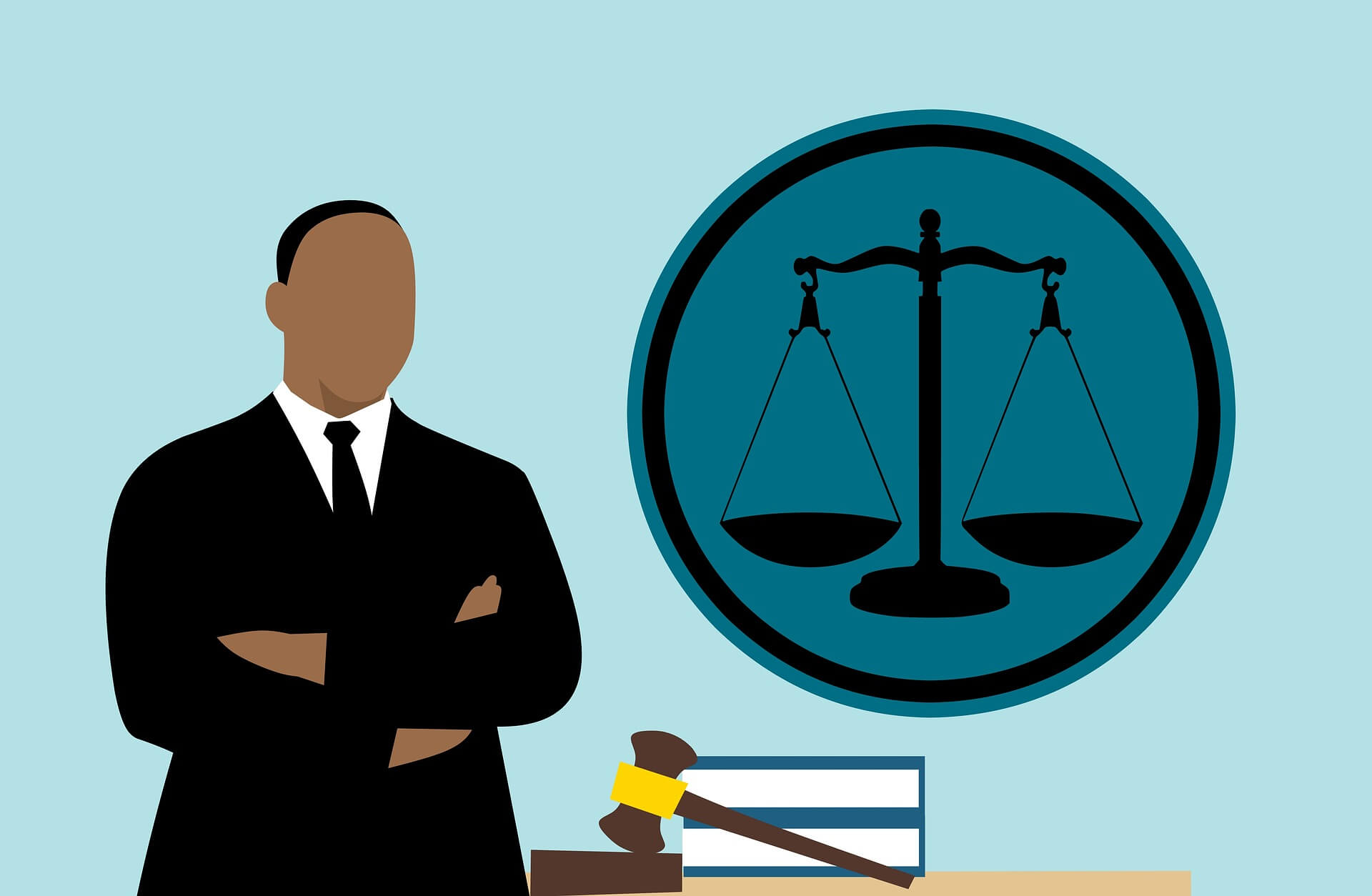 graphic of man in suit next to legal icon and gavel