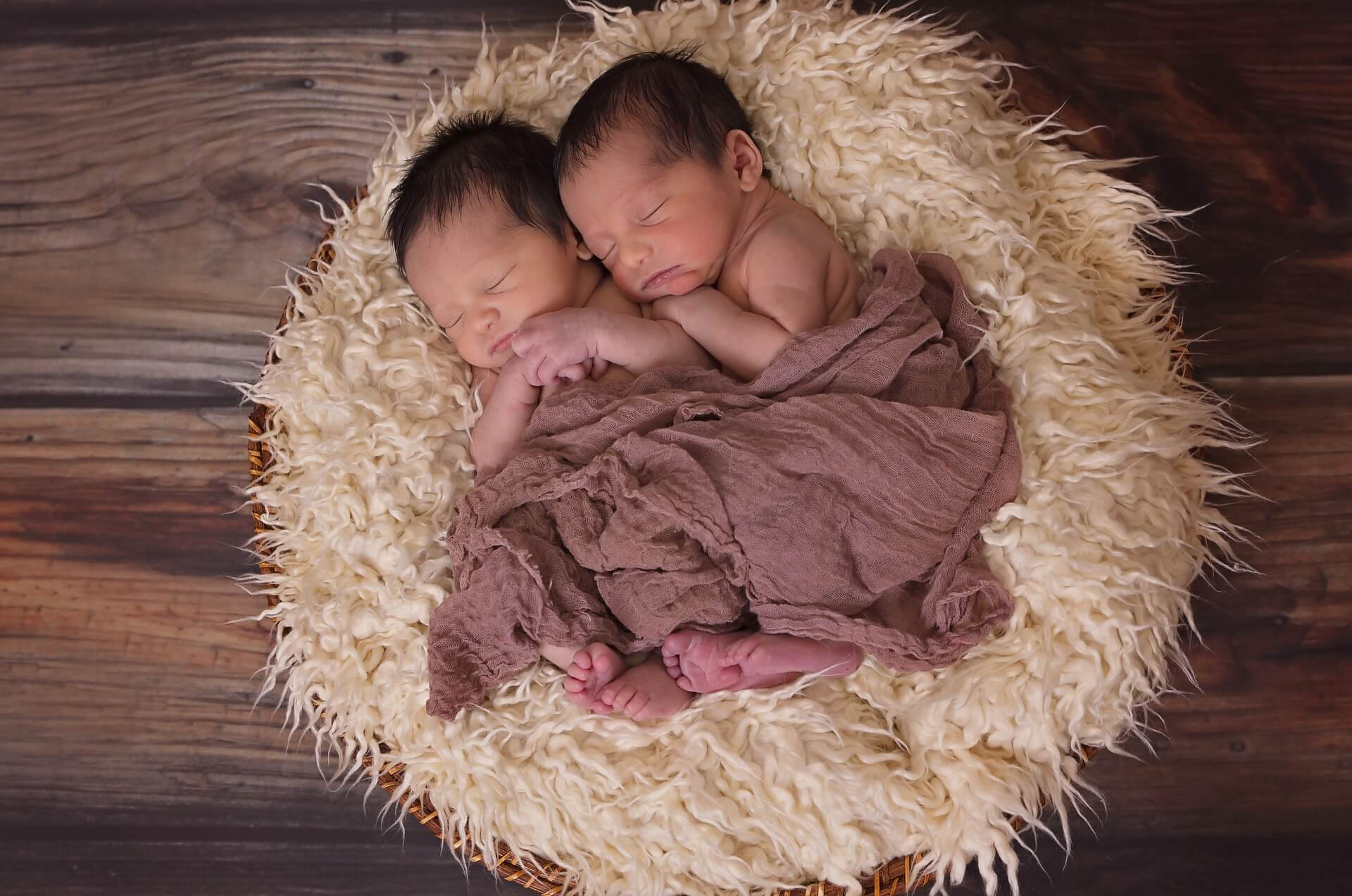 twin babies snuggled in basket