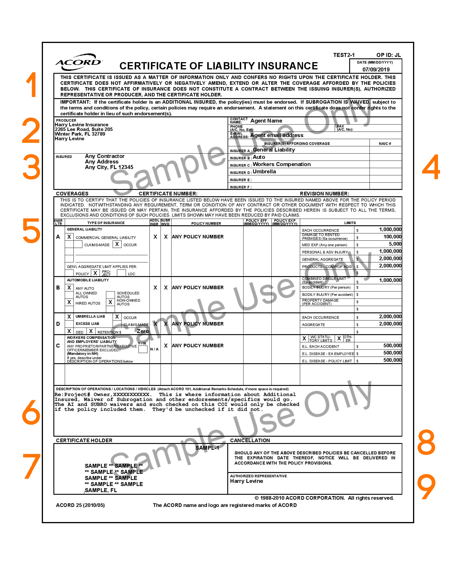 Sample Certificate of Insurance