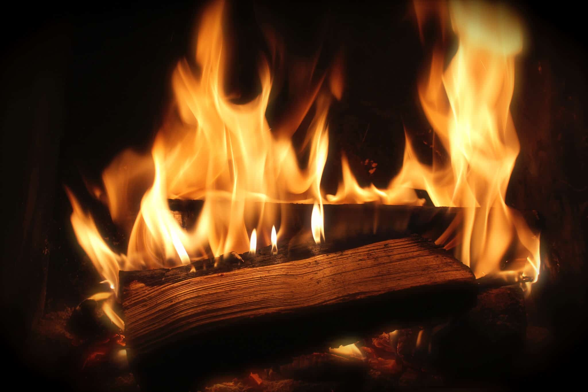 wood-burning fire