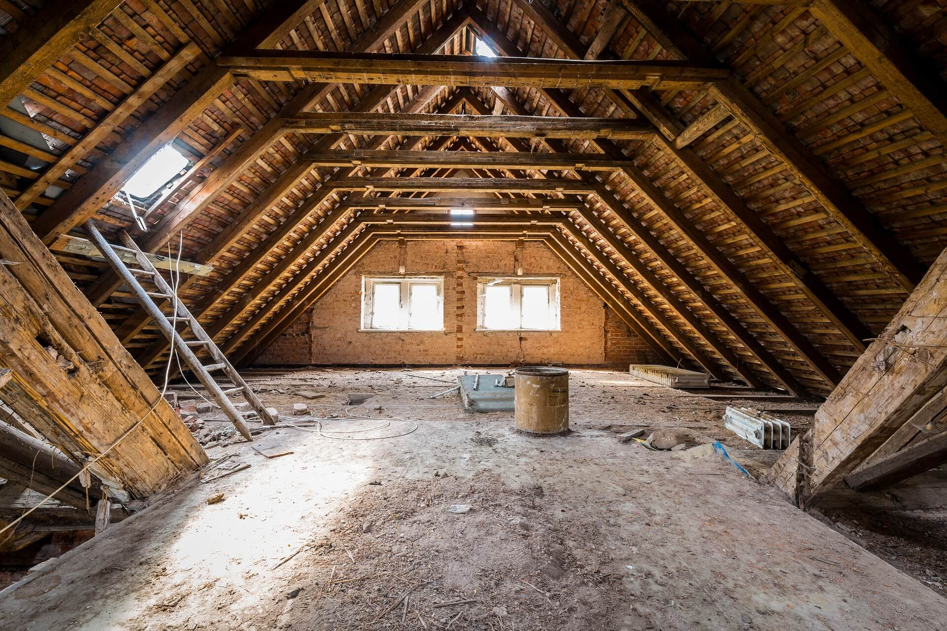 empty attic underneath roof