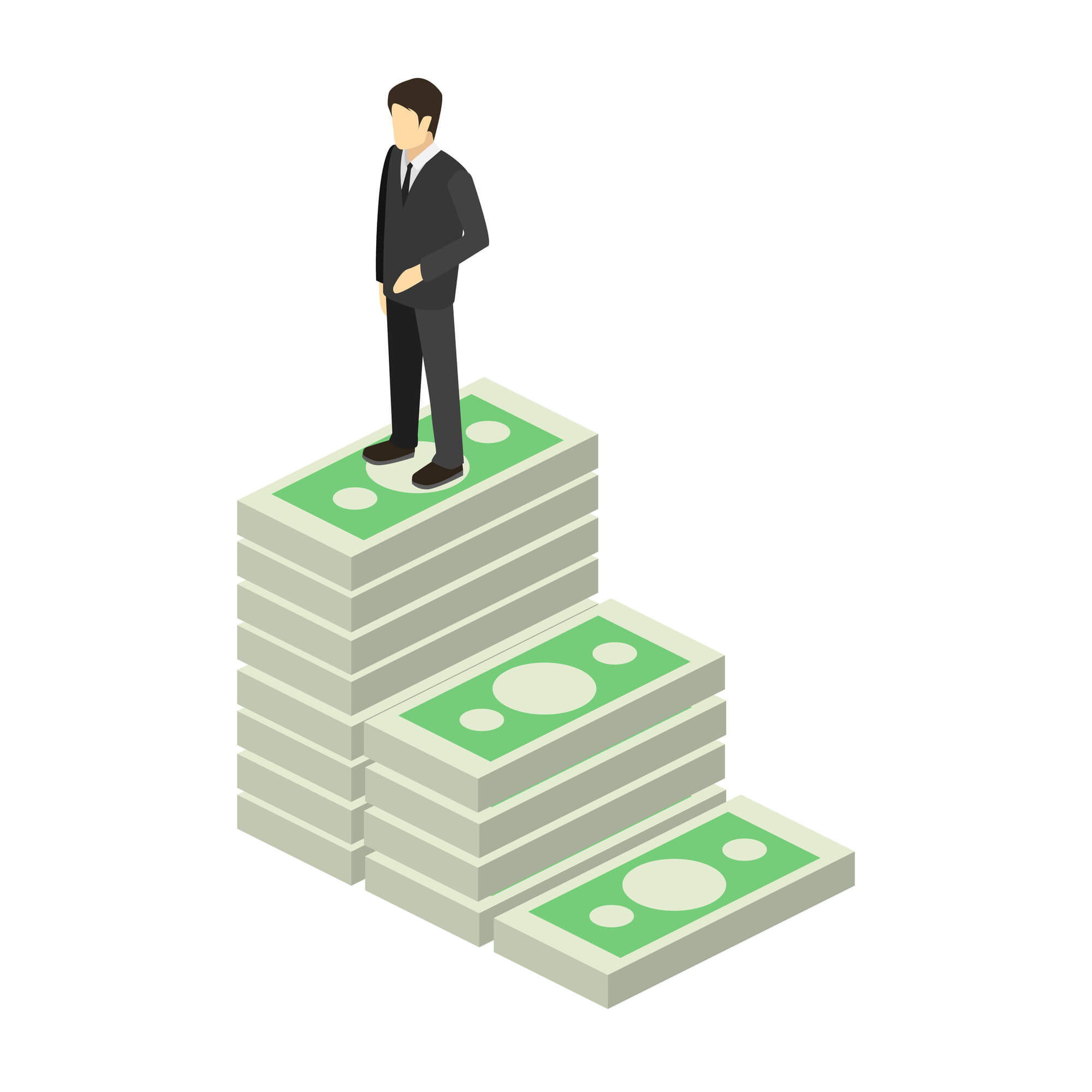 graphic of man standing on stairs made of money