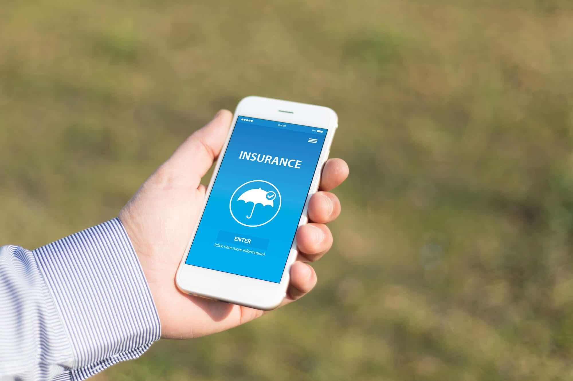 insurance app on mobile phone