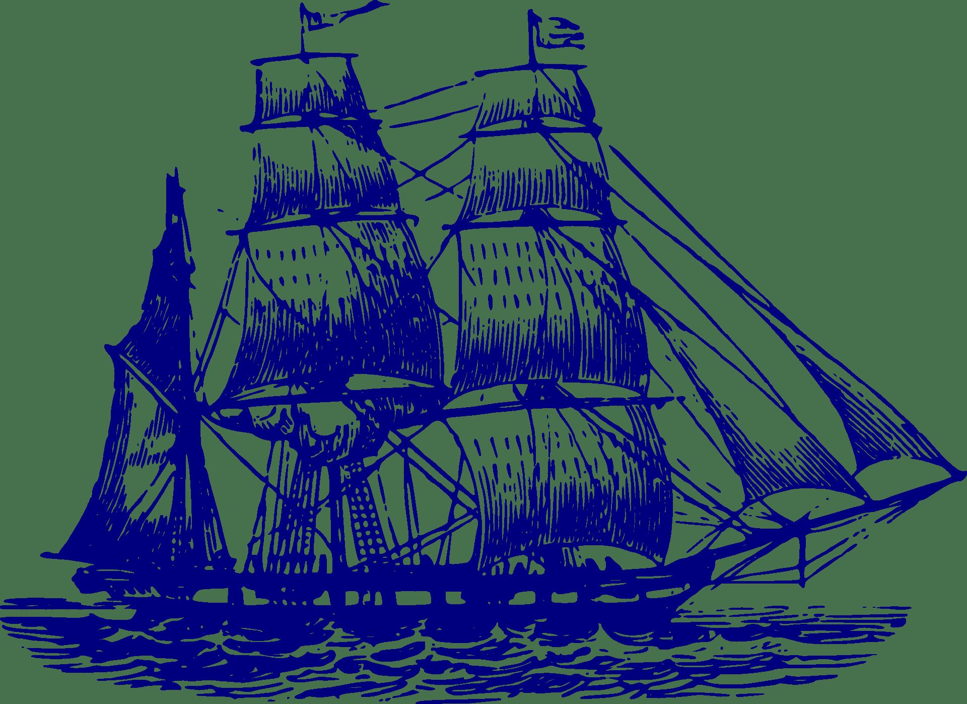 vintage illustration of old timey ship